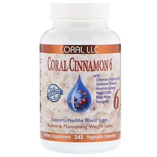 CORAL LLC, Coral Cinnamon 6,  243 Vegetable Capsules