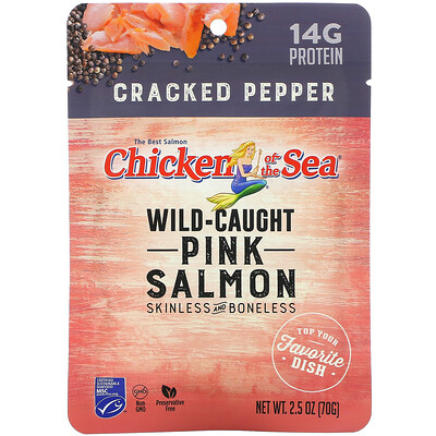 Chicken of the Sea Wild-Caught Pink Salmon, Cracked Pepper, 2.5 oz ( 70 g)