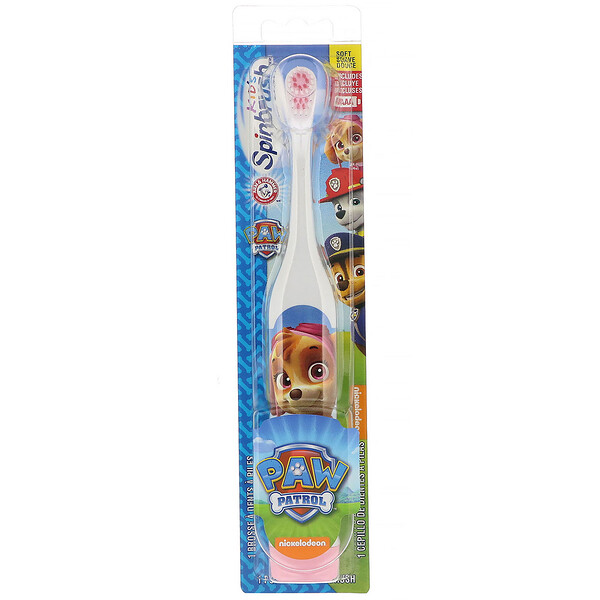 Arm & Hammer, Kid's Spinbrush, Paw Patrol, Soft, 1 Battery Powered Toothbrush