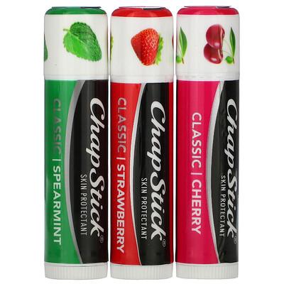 Купить Chapstick Защитный бальзам для губ, классическая коллекция, 3 тюбика по 4 г