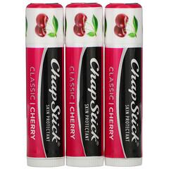 Chapstick, Lip Care Skin Protectant, Classic Cherry, 3 Sticks, 0.15 oz (4 g) Each