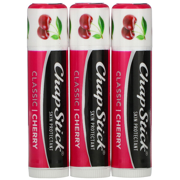 Lip Care Skin Protectant, Classic Cherry, 3 Sticks, 0.15 oz (4 g) Each