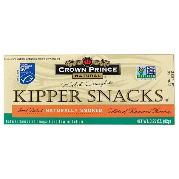 Crown Prince Natural, 燻製ニシンの軽食(Kipper Snacks), 自然に燻製, 3.25オンス(92 g)