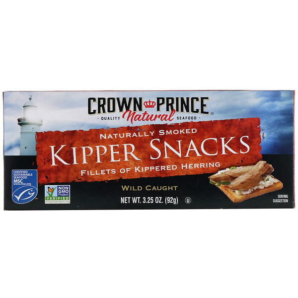 Crown Prince Natural, 燻製ニシンの軽食(Kipper Snacks), 自然に燻製, 3.25オンス(92 g) (Discontinued Item)