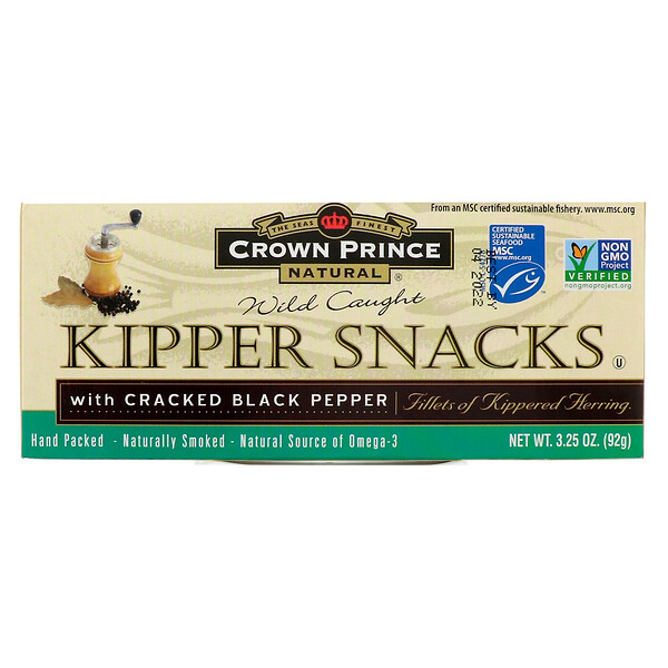 Crown Prince Natural, Kipper Snacks, with Cracked Black Pepper, 3.25 oz (92 g) (Discontinued Item)