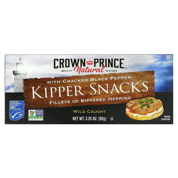 Crown Prince Natural, Bocadillos de arenque ahumados, con pimienta negra molida, 3.25 oz (92 g)