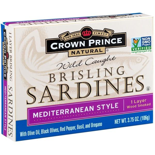 Crown Prince Natural, Brisling Sardines, Mediterranean Style, 3.75 oz (106 g)