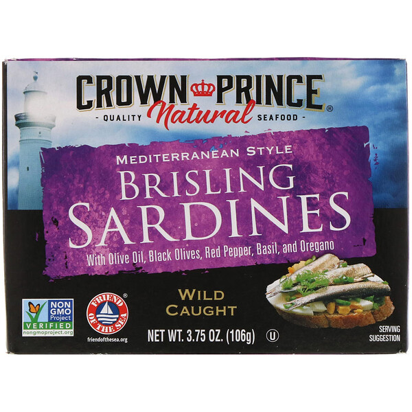 Crown Prince Natural, Brisling Sardines, Mediterranean Style, 3.75 oz (106 g) (Discontinued Item)