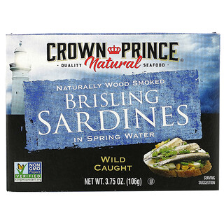 Crown Prince Natural, Sardinas brisling, en agua de manantial, 3.75 oz (106 g)
