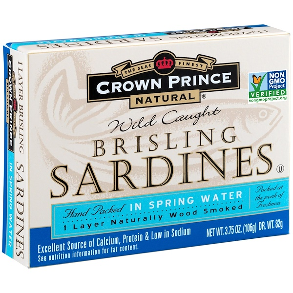 Crown Prince Natural, Brisling Sardines, In Spring Water, 3.75 oz (106 g)