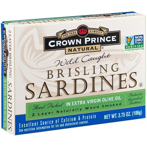 Crown Prince Natural, Brisling Sardines, in Extra Virgin Olive Oil, 3.75 oz (106 g)
