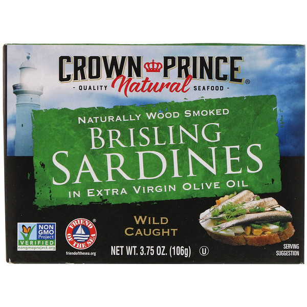 Brisling Sardines, in Extra Virgin Olive Oil, 3.75 oz (106 g)