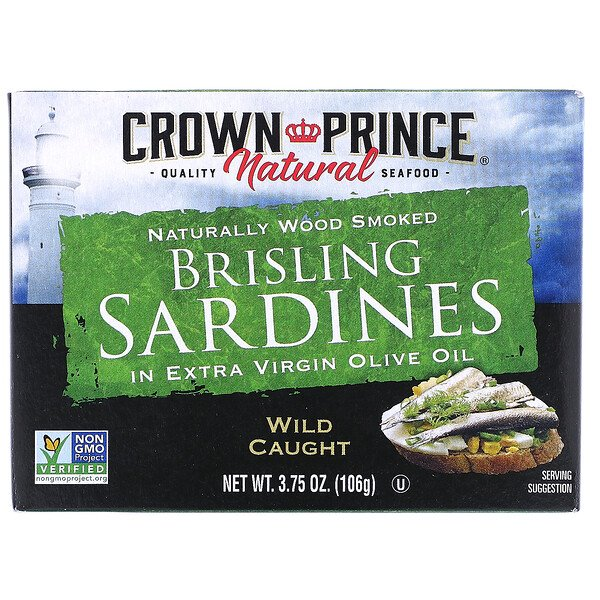 Brisling Sardines in Extra Virgin Olive Oil, 3.75 oz (106 g)