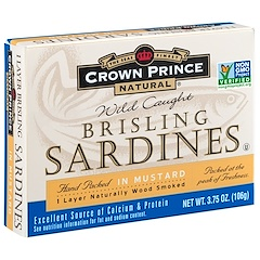 Crown Prince Natural, Brisling Sardines, In Mustard, 3.75 oz (106 g)