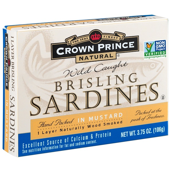 Crown Prince Natural, Brisling Sardines, In Mustard, 3.75 oz (106 g) (Discontinued Item)