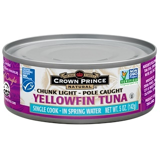 Crown Prince Natural, Yellowfin Tuna, In Spring Water, 5 oz (142 g)