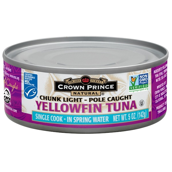 Crown Prince Natural, Yellowfin Tuna, In Spring Water, 5 oz (142 g) (Discontinued Item)