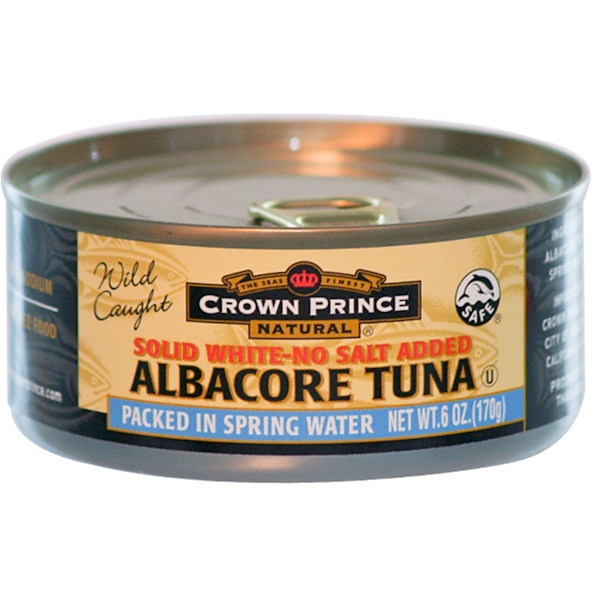 Crown Prince Natural, Solid White-No Salt Added Albacore Tuna, 6 oz (170 g) (Discontinued Item)