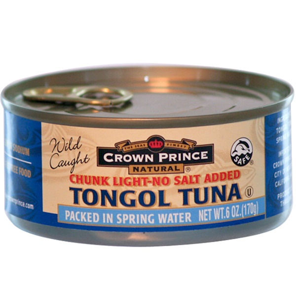 Crown Prince Natural, Chunk Light-No Salt Added Tongol Tuna, 6 oz (170 g) (Discontinued Item)