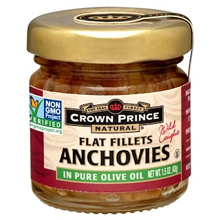 Crown Prince Natural, Anchoas, Filetes Planos, En Aceite de Oliva Puro, 1.5 oz (43 g)