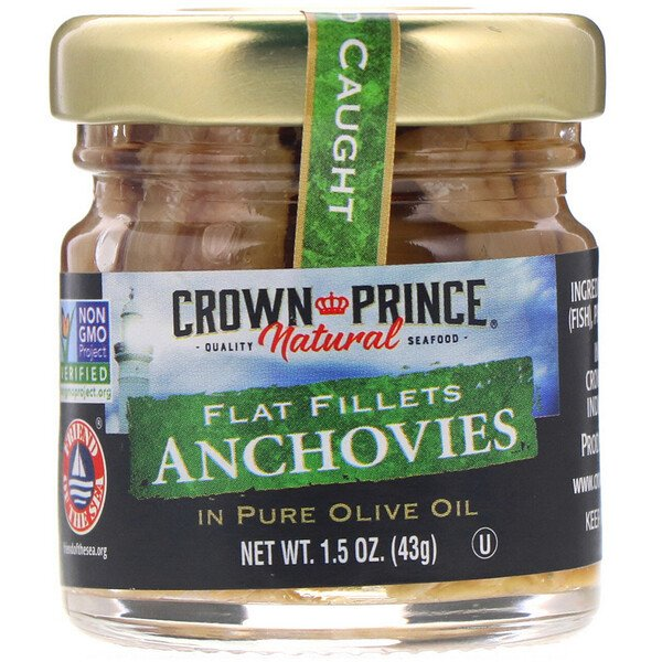 Anchovies, Flat Fillets, In Pure Olive Oil, 1.5 oz (43 g)