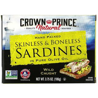 Crown Prince Natural, 皮・骨なしイワシ、オリーブオイル100%漬け、106g(3.75オンス)
