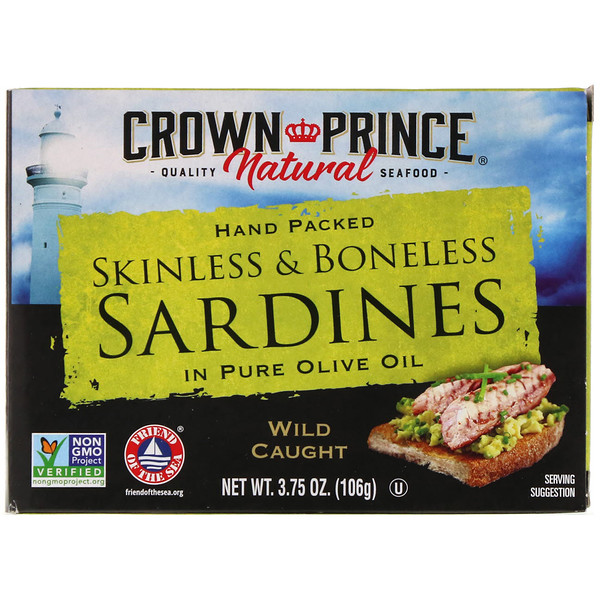 Crown Prince Natural, Skinless & Boneless Sardines, In Pure Olive Oil, 3.75 oz (106 g)