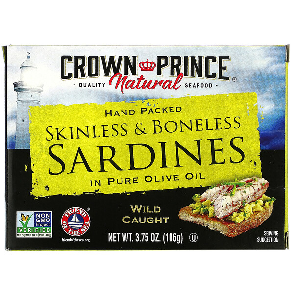 Skinless & Boneless Sardines, In Pure Olive Oil, 3.75 oz (106 g)