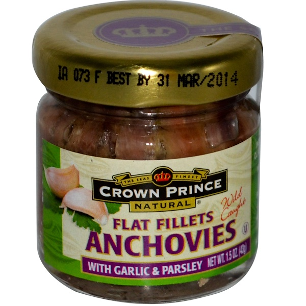 Crown Prince Natural, Anchovies, Flat Fillets, with Garlic & Parsley, 1.5 oz (43 g) (Discontinued Item)