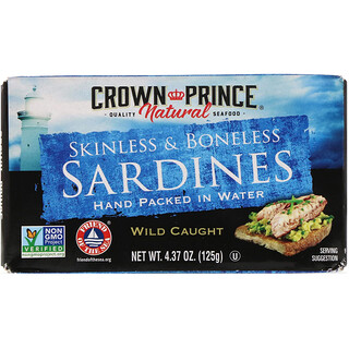 Crown Prince Natural, Skinless & Boneless Sardines, In Water, 4.37 oz (125 g)