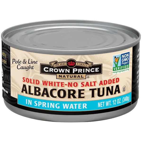 Crown Prince Natural, Albacore Tuna, Solid White-No Salt Added, In Spring Water, 12 oz (340 g) (Discontinued Item)