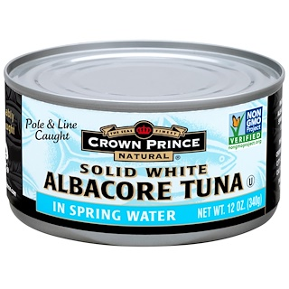 Crown Prince Natural, Albacore Tuna, Solid White, In Spring Water, 12 oz (340 g)