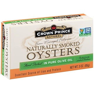 Crown Prince Natural, Naturally Smoked Oysters, In Pure Olive Oil, 3 oz (85 g)