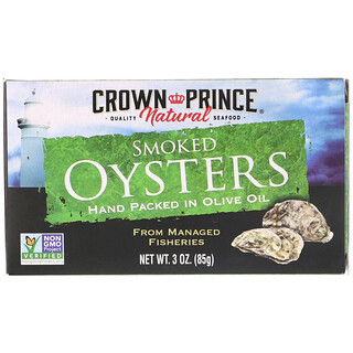 Crown Prince Natural, Smoked Oysters, In Olive Oil, 3 oz (85 g)