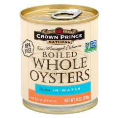Crown Prince Natural, Boiled Whole Oysters, Packed In Water, 8 oz (226 g)