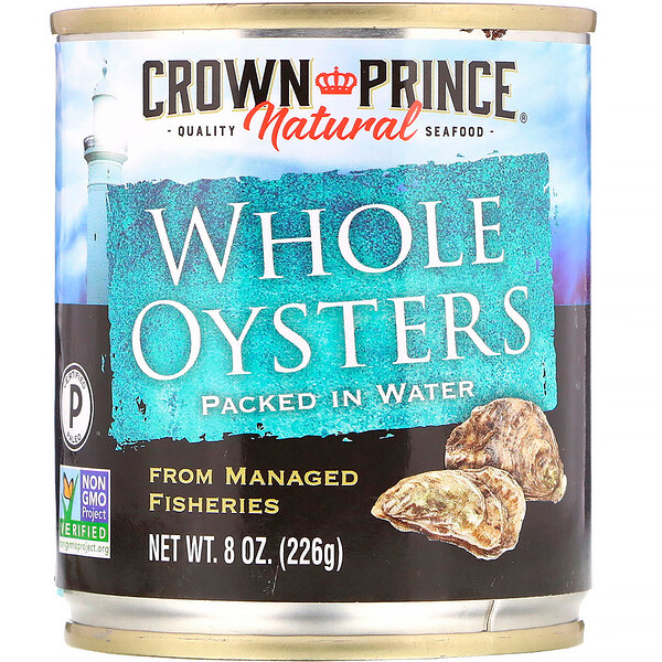 Crown Prince Natural, Whole Oysters, Packed In Water, 8 oz (226 g)