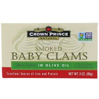 Crown Prince Natural, オリーブオイル漬けの燻製ミニアサリ, 3オンス(85 g)