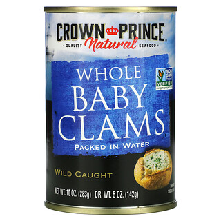 Crown Prince Natural, Whole Baby Clams, Packed in Water, 10 oz (283 g)