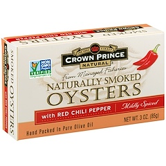 Crown Prince Natural, Naturally Smoked Oysters with Red Chili Peppers, Mildly Spiced, 3 oz (85 g)