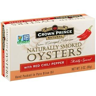 Crown Prince Natural, Ostras Naturalmente Ahumadas con Pimientos Rojos Picantes, Levemente Especiados, 3 oz (85 g)