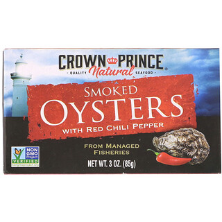 Crown Prince Natural, Smoked Oysters, with Red Chili Pepper, 3 oz (85 g)