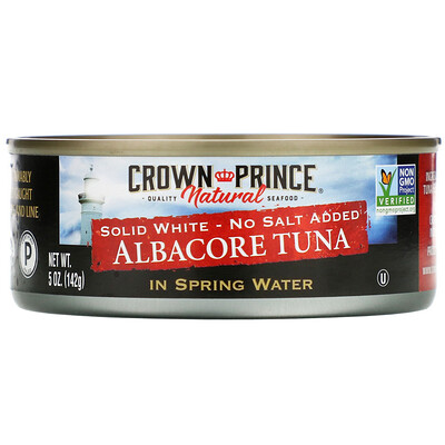 Купить Crown Prince Natural Длинноперый тунец, Плотное белое мясо - Без добавления соли, В пресной воде, 5 унций (142 г)