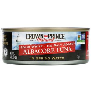 Краун Принс Нэчуралс, Albacore Tuna, Solid White — No Salt Added, In Spring Water, 5 oz (142 g) отзывы покупателей
