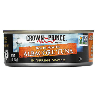 Crown Prince Natural, Solid White Albacore Tuna, In Spring Water, 5 oz (142 g)