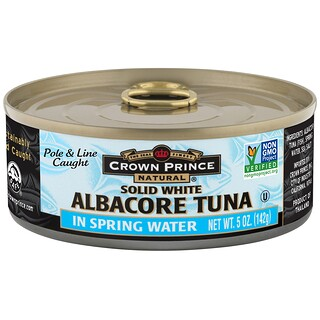 Crown Prince Natural, Albacore Tuna, Solid White, In Spring Water, 5 oz (142 g)