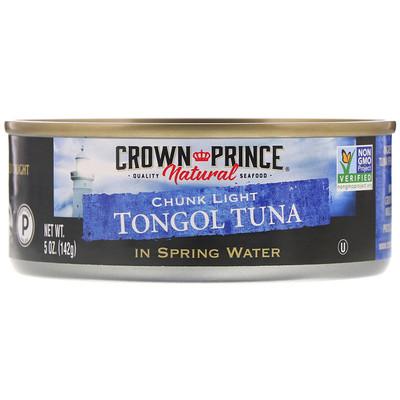 Crown Prince Natural Кусочки легкого тунца тонгол, в родниковой воде, 5 унций (142 г)  - купить со скидкой
