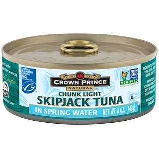 Crown Prince Natural, Skipjack Tuna, Chunk Light, In Spring Water, 5 oz (142 g)