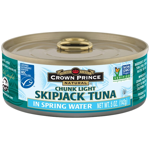 Crown Prince Natural, Skipjack Tuna, Chunk Light, In Spring Water, 5 oz (142 g) (Discontinued Item)