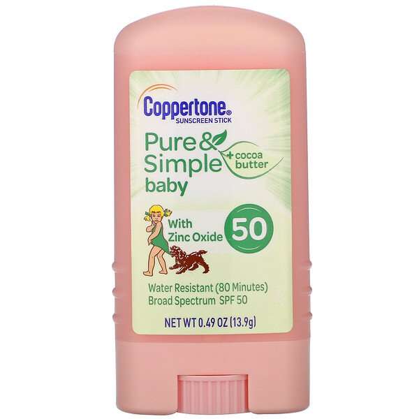 Coppertone, Baby, Pure & Simple, Sunscreen Stick, SPF 50, Cocoa Butter, 0.49 oz (13.9 g)
