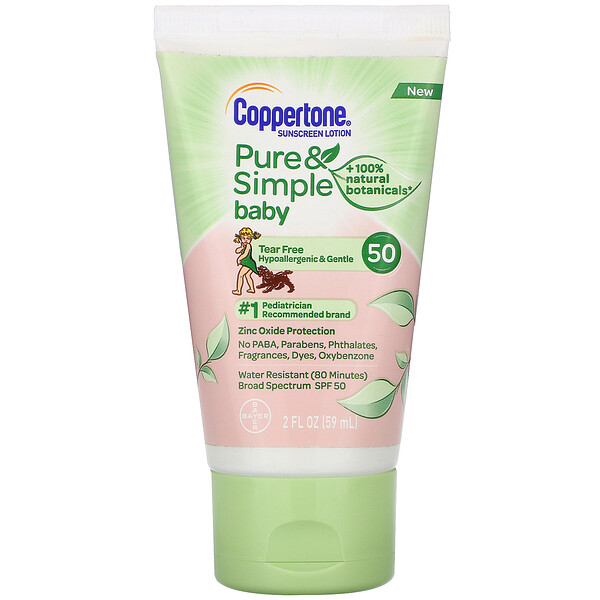 Coppertone, Baby, Pure & Simple, Sunscreen Lotion, SPF 50, 2 fl oz (59 ml) (Discontinued Item)